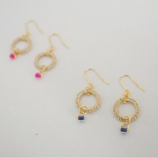 Knitting ring earrings/gold