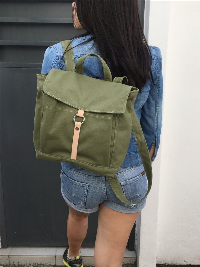 green Backpack / leather strap canvas backpack /Small Tanya (no.102S)