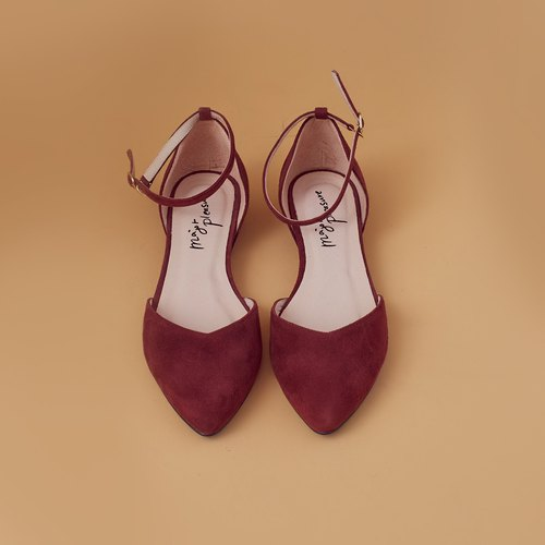 Elegant daily shoes! V-shaped thin ankle strap burgundy burgundy - [Major Pleasure] full leather MIT Taiwan handmade