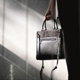 Liam bag in black suede and leather with silver hardware