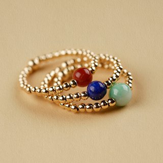 Fine gold ring is not available VISHI USA 14k note gold natural emerald South red green gold beads string female simple
