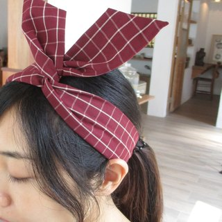 Turn the hair band (handmade) - tie ear - wine red grid