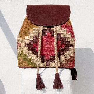 After Valentine's Day gift handmade suede backpacks / embroidery shoulder bag / backpack Moroccan carpet wind / Boximiya Backpacks / ethnic mosaic backpack / Turkey Wind Carpet - Boho geometric carpet style national totem (limit one)