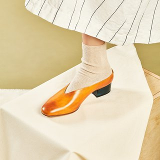 H THREE round head 3.4 U-neck Muller heel / silk flower / heel / leather shoes