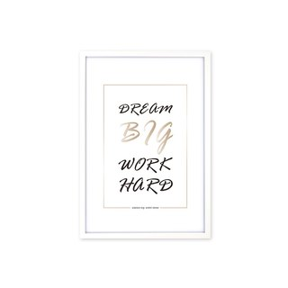 HomePlus Decorative Frame Dream Big Work Hard Fashion White 63x43cm Wall Decor