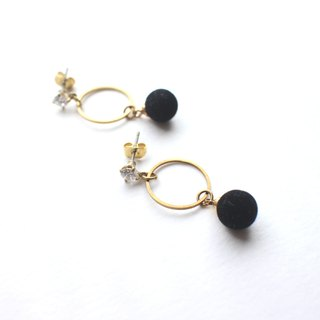 Little black-  brass handmade earrings
