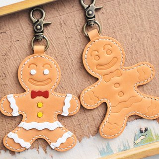 Freshly baked gingerbread man key ring well stitched leather material bag Christmas gift Italy vegetable tanned