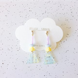 Summer travel series - seaside cocktail hand-painted cute handmade earrings ear pin / ear clip