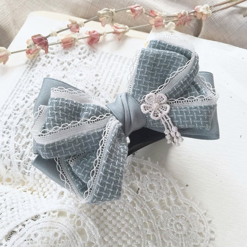 Lake Blue/Elegant British Ladies Lace Edge Bow Hair Tie Hair Tress Ponytail Clip Spring Clip Hair Fork