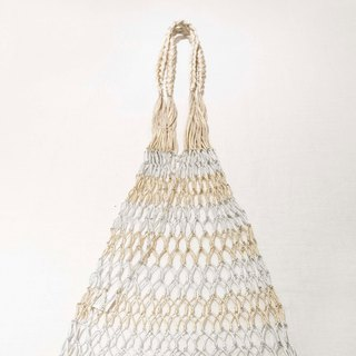 Hand-woven fish net bag (gold and silver color)