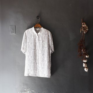 Fukui gray white full version totem weekend garden tour antique silk spinning gauze shirt shirt