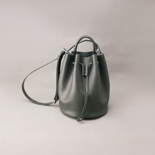 Mini Bert leather bucket bag side back bundle bag / dark green vegetable tanned leather / handmade bag