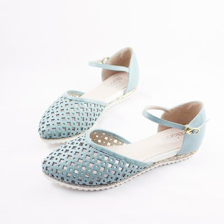 Parent-child shoes Mummy models good breathable hollow toe leather sandals - sky blue