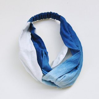 [years old] grass dyed cotton headband with blue and white gradient