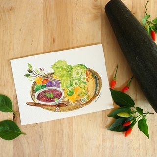 Thai food postcard collection. Thai Traditional .Snack and food collection.Painting by watercolor. 7 pieces/set.