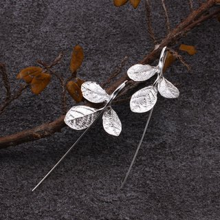 Red Flower Loropetalum Leaf 925 Sterling Silver Earrings Nature Plant
