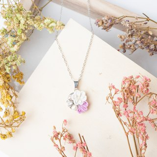 [Small bells] つまみ fine work / freshwater pearl crystal and wind cloth flower necklace (lavender)
