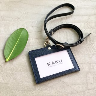 KAKU leather design customized identification card holder clip dark blue