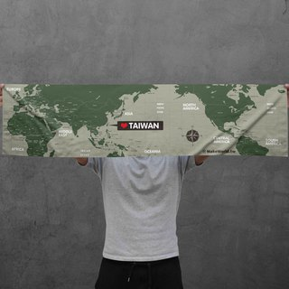 Make World map manufacturing sports towel (military green)