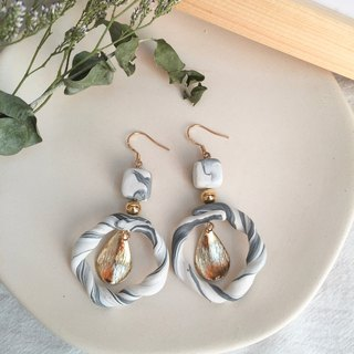 Polymer clay earrings- marble twisting hoop earrings/ear clips
