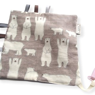 Taggie Blanket, Rattle Toy, Poar Bear on Gray Beige, Super Soft Japanese Cotton,