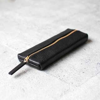 Vegetable tanned cowhide carbon black flat rectangular leather pencil case