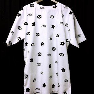 Oversize shirt printed pattern flower eyes