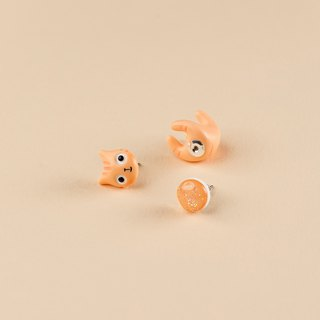 Peach Polymer Clay Earrings -  Spring Cat Earrings