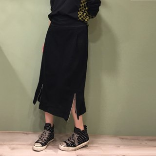 [Skirt] double pull long cotton skirt _ black