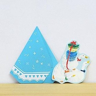Greeting card/Duck's tent/blue