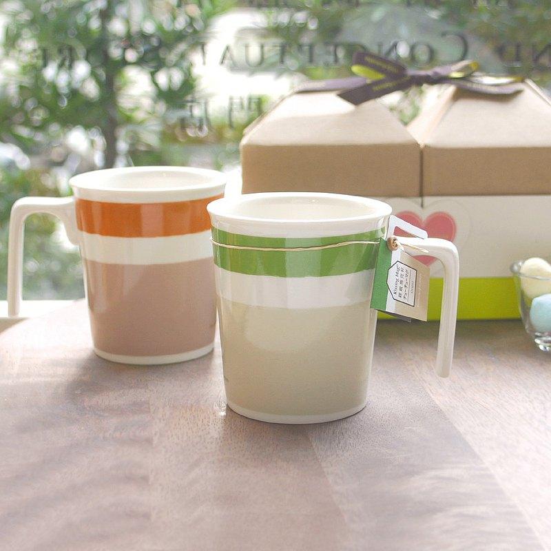 【雙人午茶趣】卡布其諾+綠竹林-親親馬克杯 禮盒/ 可加購蓋