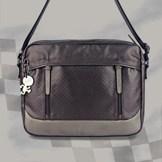 Free shipping I AM-shoulder bag - dark coffee / dark gray with leather