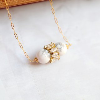 White turquoise necklace │14k potato chain Christmas gift texture elegant