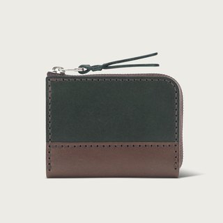Contrast zipper short clip / coin purse / wallet - Forest Green