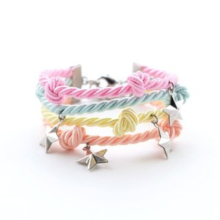 Colorful pastel layer bracelet with stars