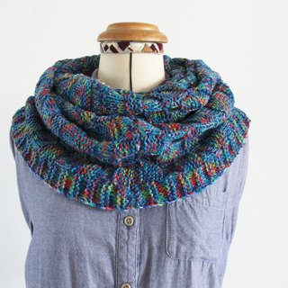 Blue wool scarf (color yarn blue)
