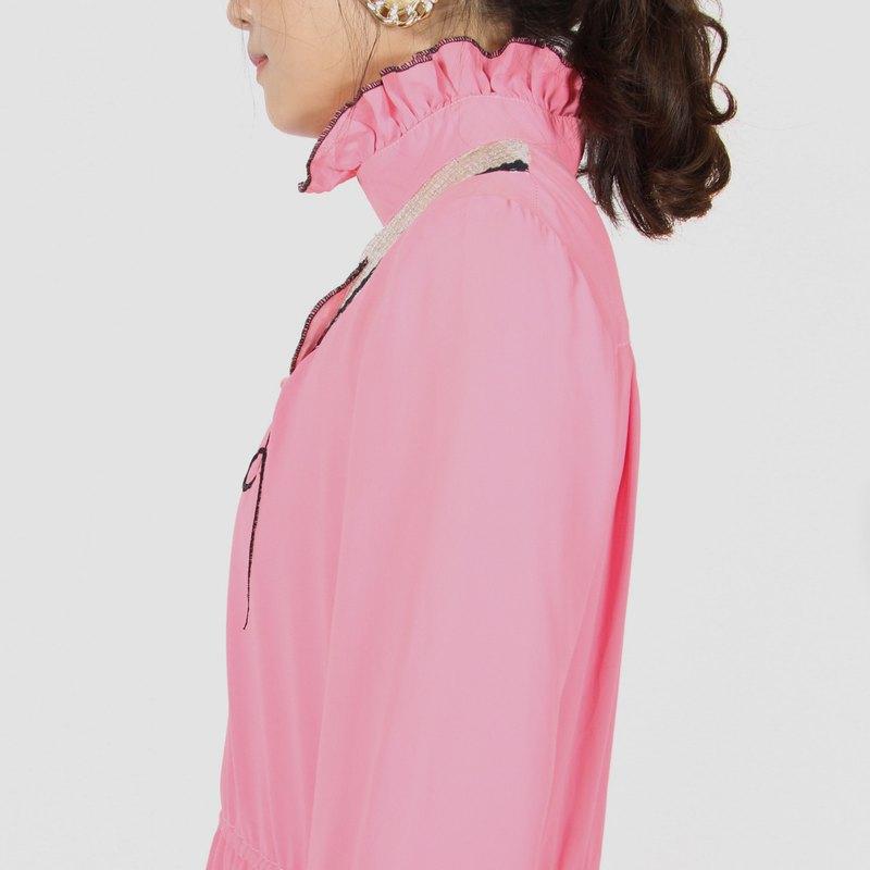 【蛋植物古着】紅粉氣泡純色古著洋裝