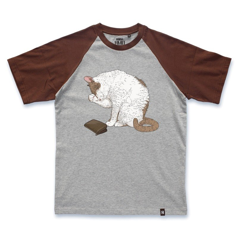 AMO®Original  canned  cotton T-shirt/AKE/ The Cat Find Himself Without Money In The Middle Of Month