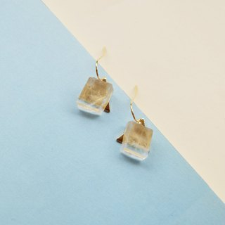 Ice Coast Retro Nordic style calcite crystal 18k gold-plated thick gold earrings