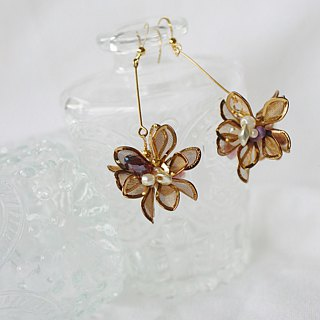 Orchid cacti  floral brass earring earclips