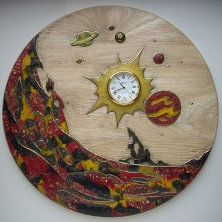 Wooden inlaid wall hanging clock