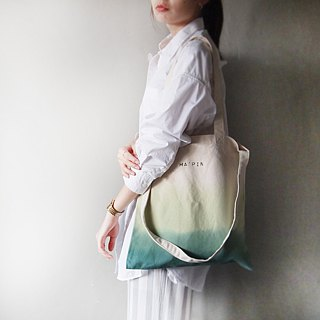 Three-layer green-canvas hand-dyed tote bag double back