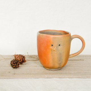 Wood fired pottery. Playful little face mug coffee cup 1