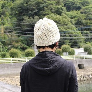 Wool knit cap / white / yellow / blue / yuoworks