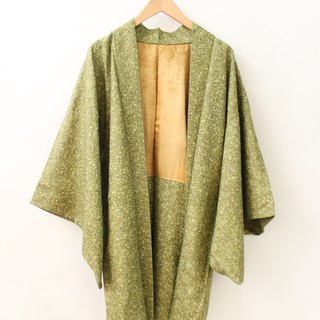 Vintage Japanese style and wind print grass green snowflake dot ancient feather kimono jacket blouse cardigan