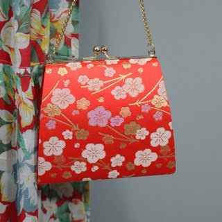 (Vintage) Japanese Orange Satin Plum with Kimono Clutch (Birthday Gift Valentine's Day Gift)