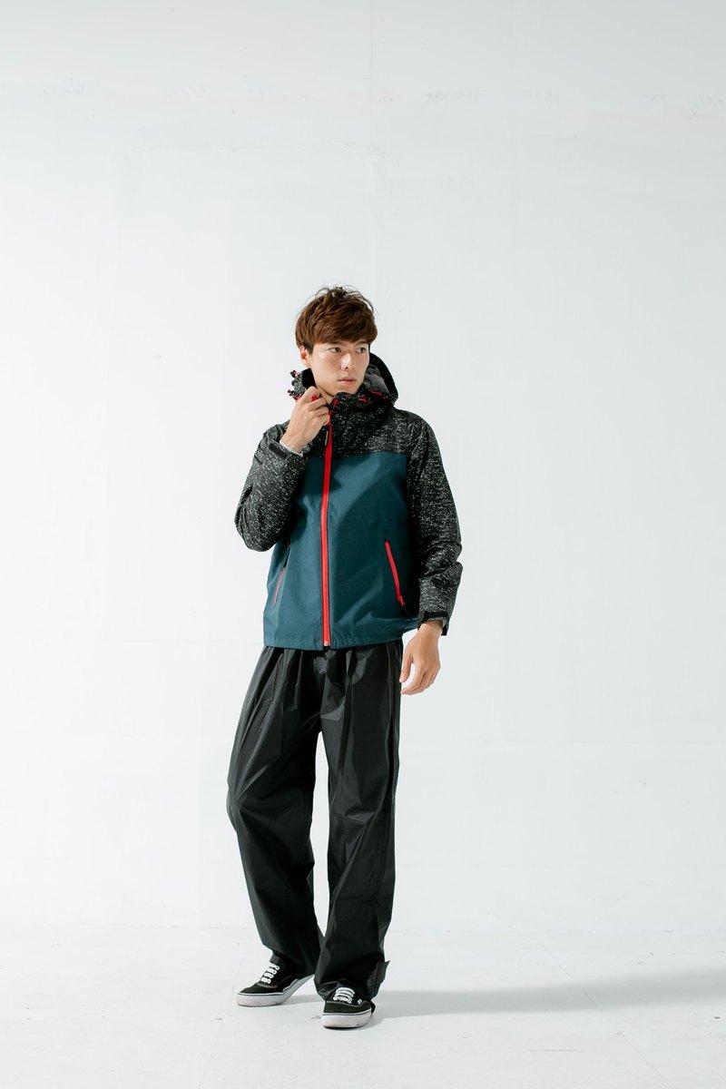 OH!MY針織快乾兩件式風雨衣-藏青色/黑