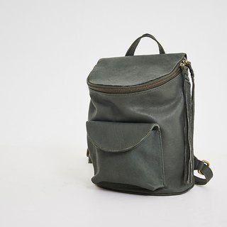 String tassel with tubular small backpack gray green