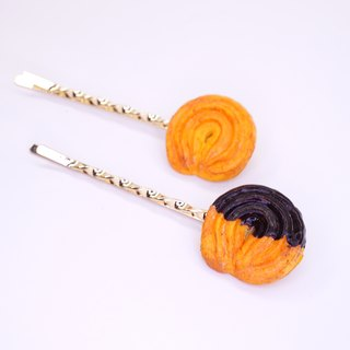 Playful Design Denmark cookie hairpin / chocolate sauce Danish cookie hairpin
