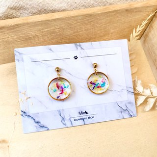 [Flower full moon] Chuhong comprehensive color dry flower series earrings (can be changed ear clip)